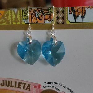 Swarovski aqua heart earrings